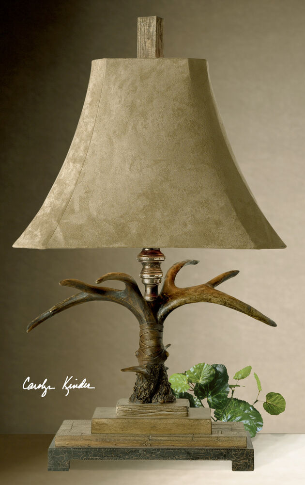 natural brown deer horn antler table lamp palomino suede shade reading