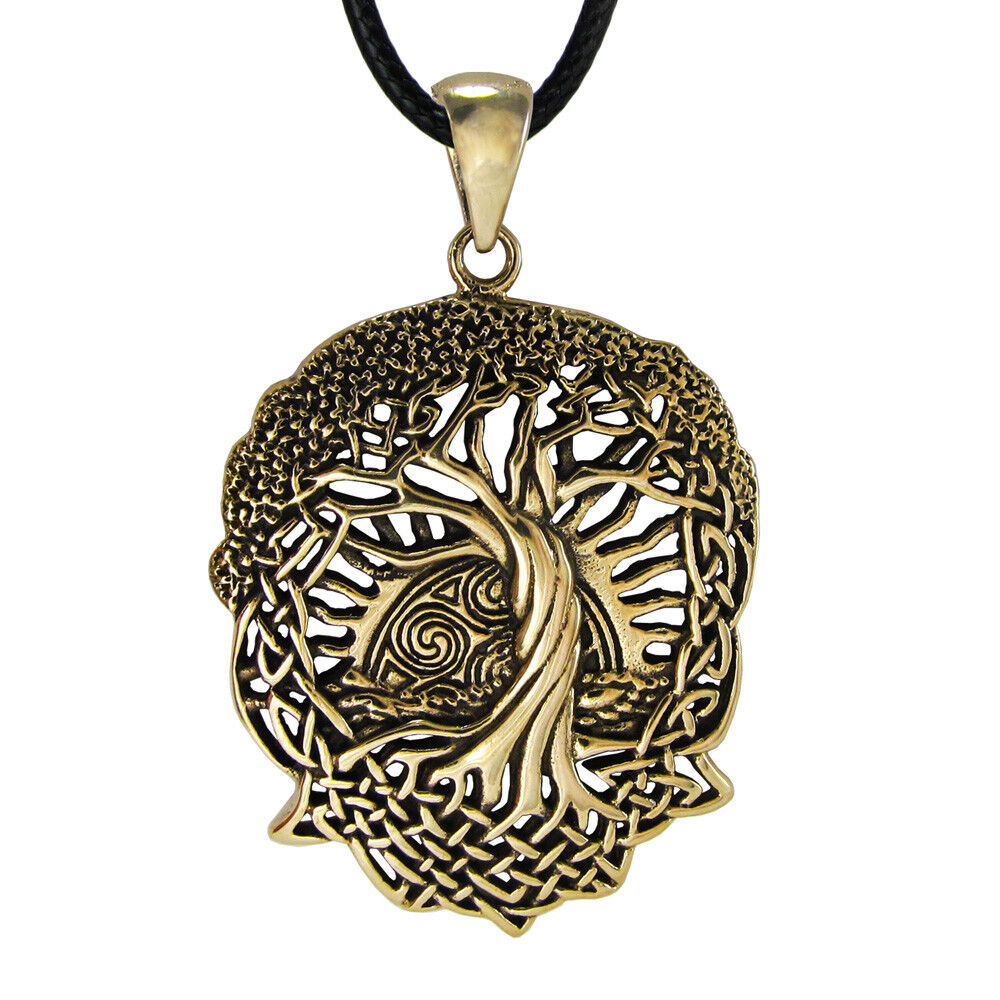 bronze celtic knot world tree of life pendant with rising