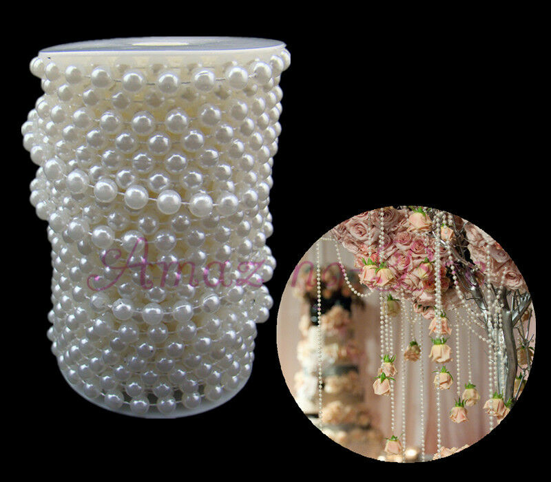 20m White 8mm ABS Plastic Faux Pearl Beads Strands Wedding