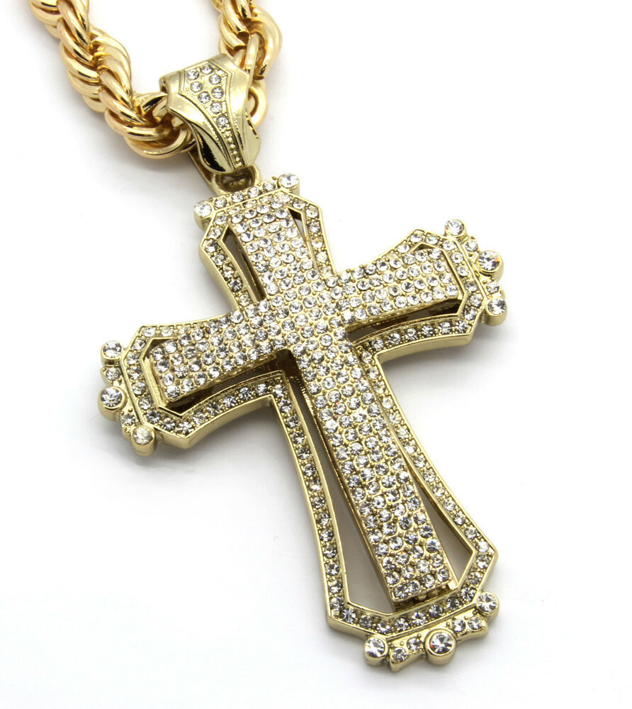 mens large hollow cross gold iced out pendant 30 inch. Black Bedroom Furniture Sets. Home Design Ideas