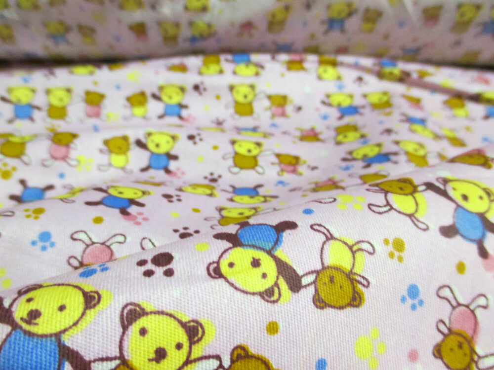 Cute pink teddy bear family children 39 s print 100 cotton for Cute childrens fabric