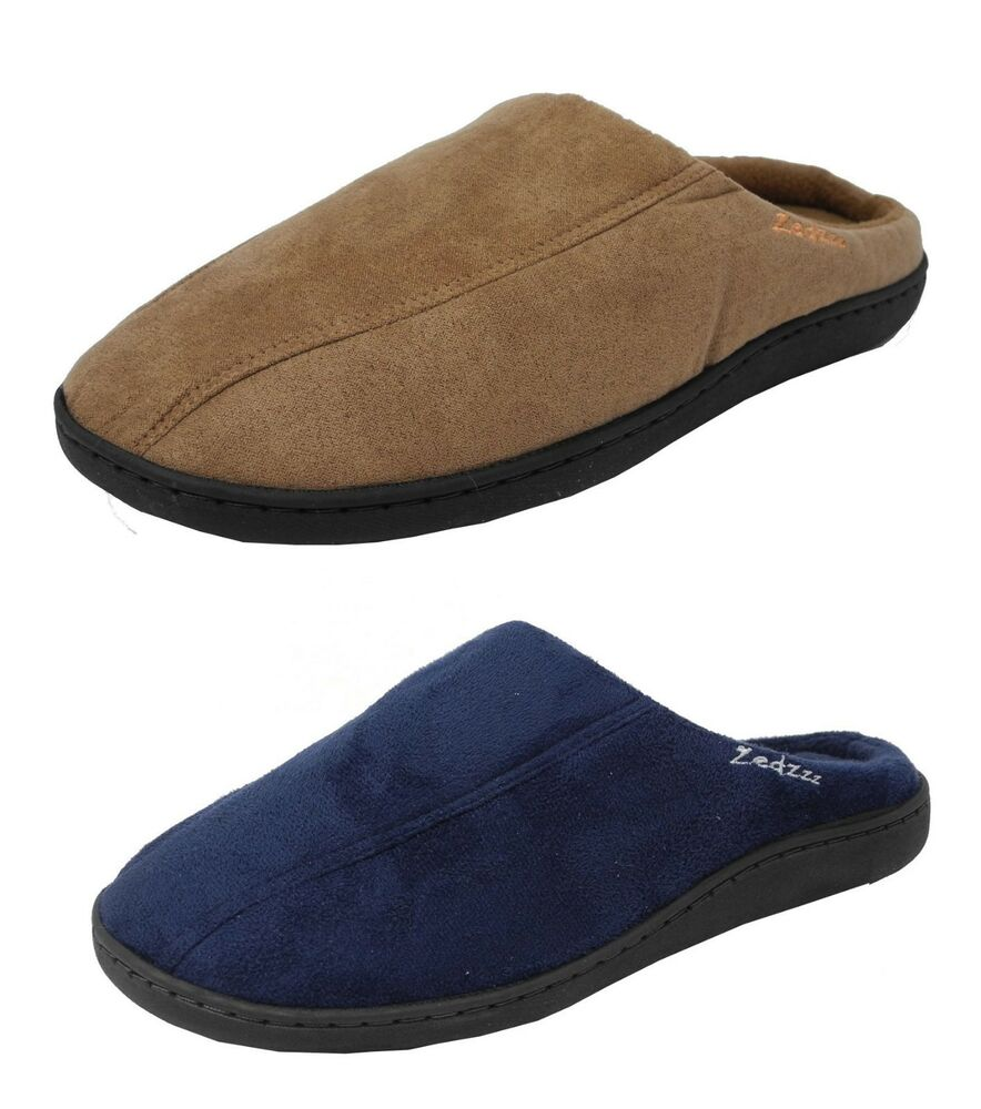 mens zedzzz micro suede mules slippers in blue or brown