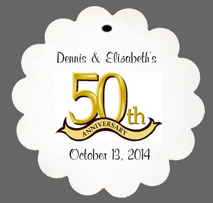 50th Wedding Anniversary Gift Tags : 24 Personalized 50th Anniversary Wedding Favor Scalloped Tags Party ...