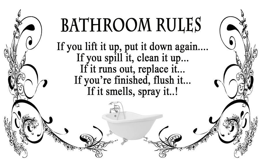 Black Amp White Bathroom Rules Quote Canvas Wall Art Picture