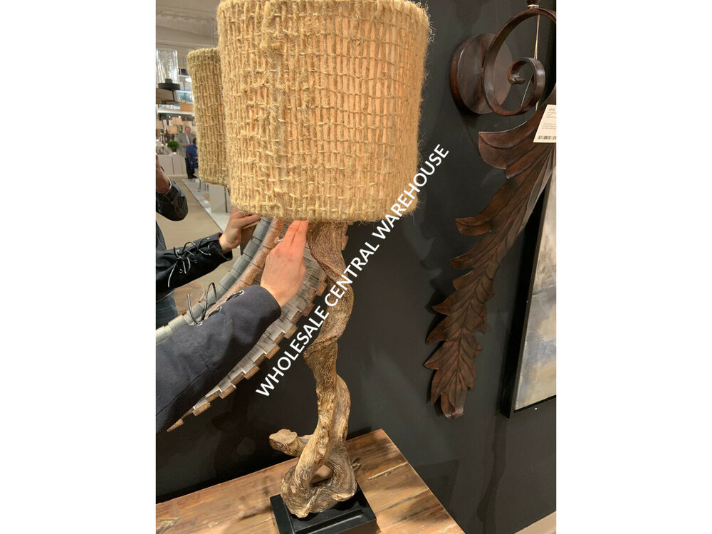 40 Quot Brown Weathered Driftwood Table Lamp Black Base