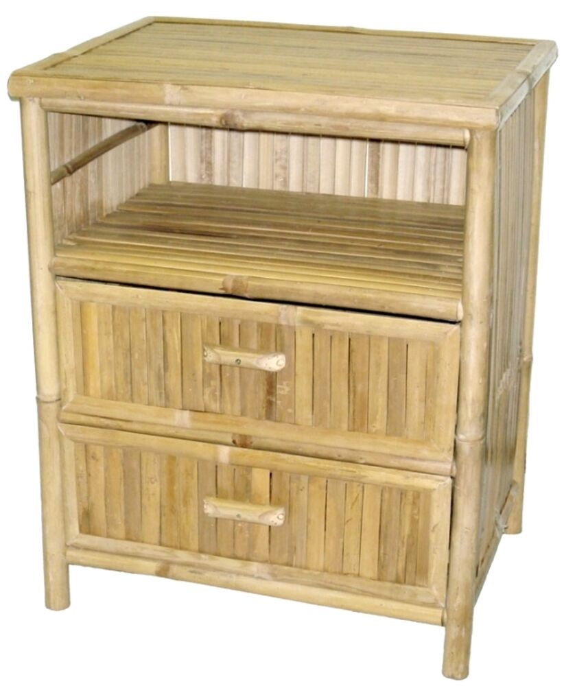 Bamboo Side Accent End Table Night Stand 2 Drawer No
