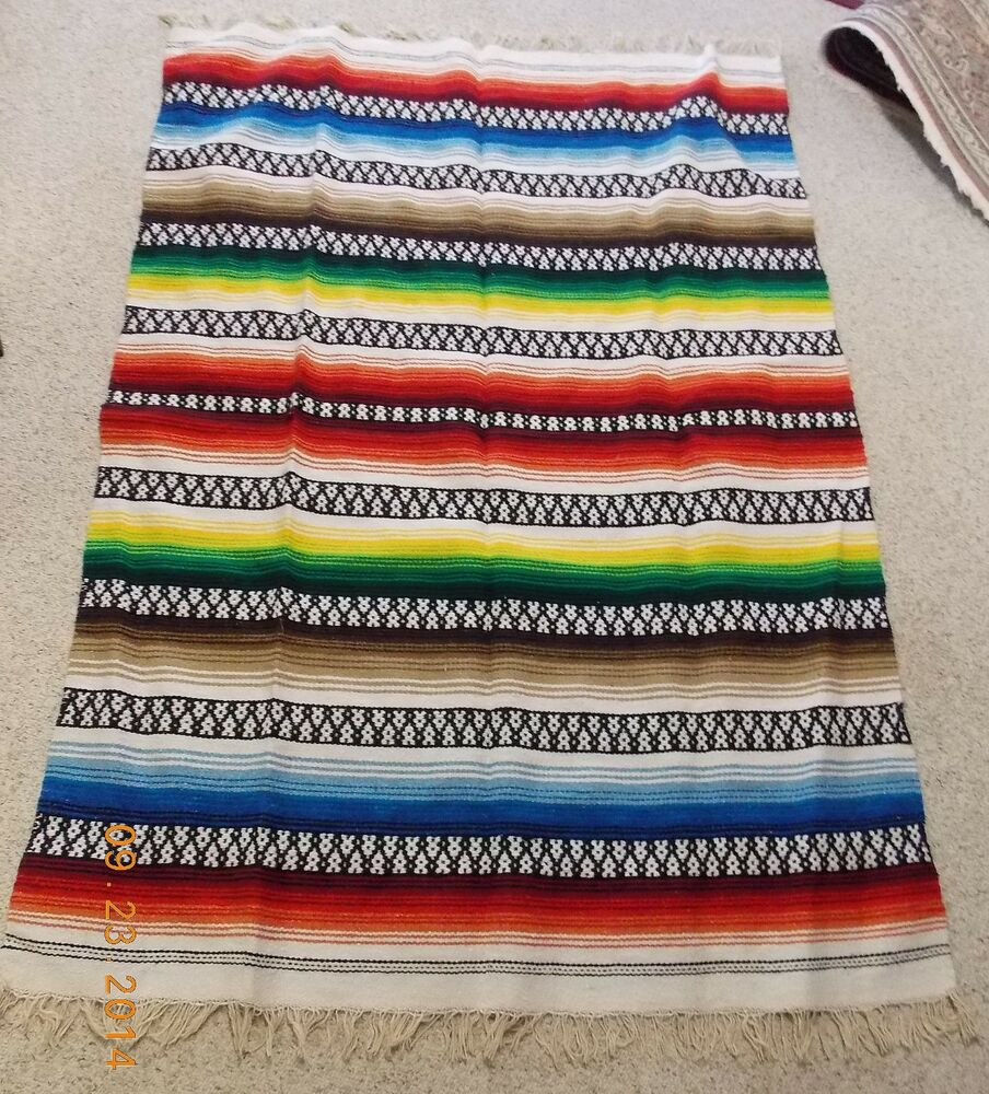 Mexican Rug History: VTG WOOL MEXICAN SERAPE WOVEN COLORFUL BLANKET THROW