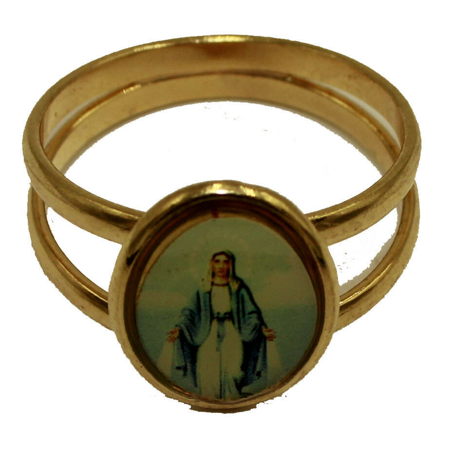 Virgen La Milagrosa Rings 18k Gold Plated Size Selectable