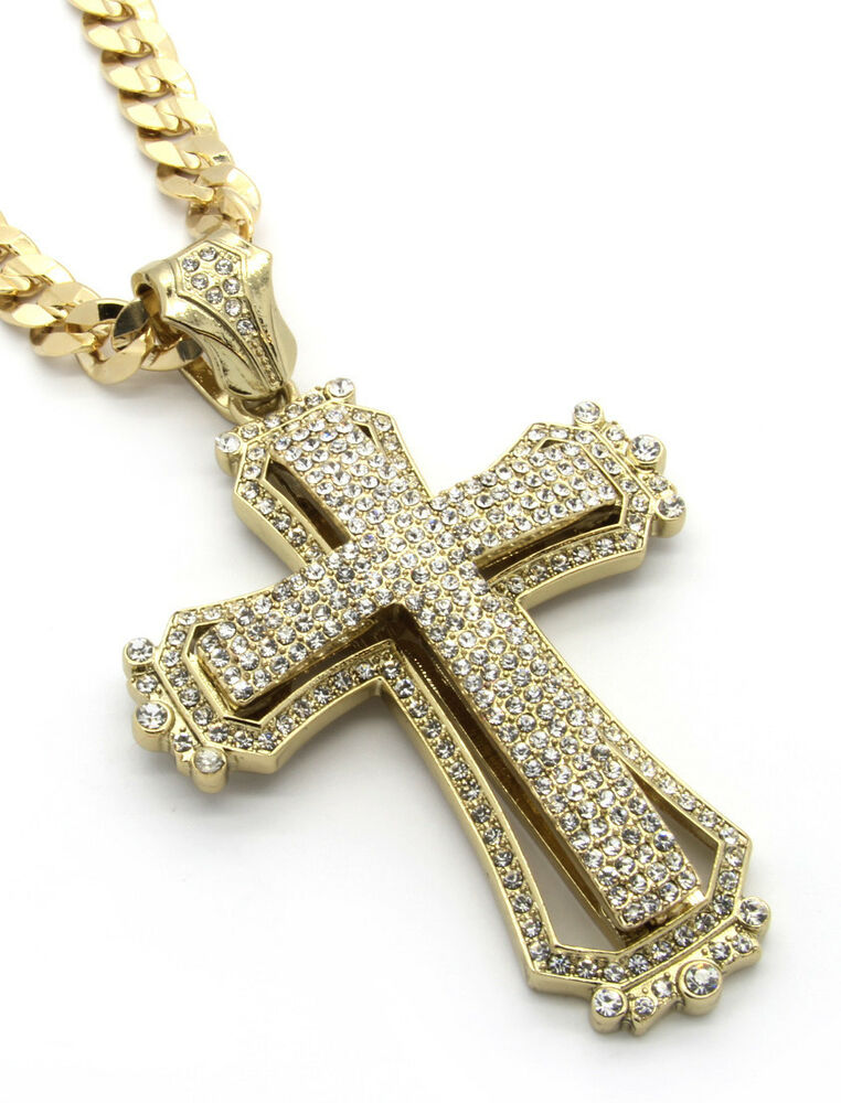mens large hollow cross gold iced out pendant 30 quot inch