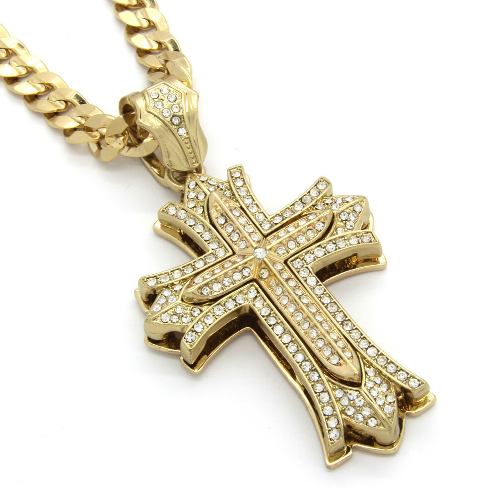 "Mens Large Thick Cross Gold Iced Out Pendant 30"" Inch"