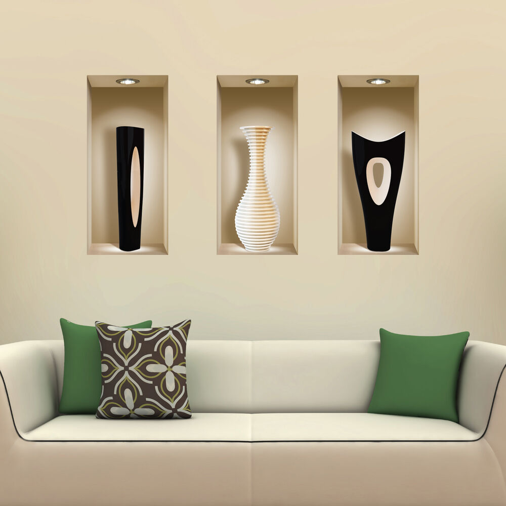 New 3 Pcs Black White Vases Wall Sticker 3d Art Picture