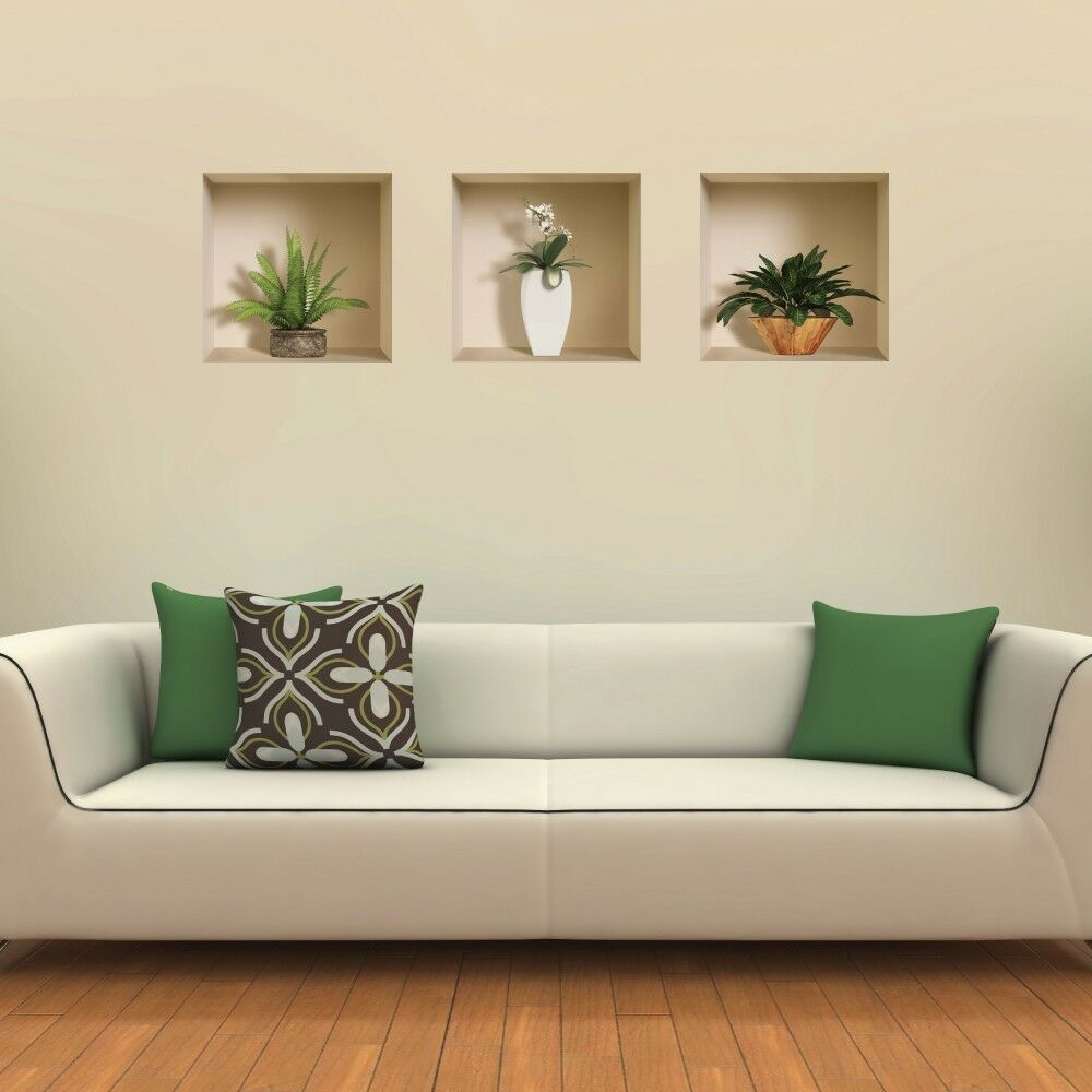 new 3 pcs plants vase wall stickers 3d art picture vinyl removable home decals ebay. Black Bedroom Furniture Sets. Home Design Ideas