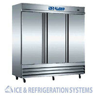 ALAMO 72 CU.FT COMMERCIAL ALL STAINLESS REACH IN REFRIGERATOR COOLER CFD-3RRE