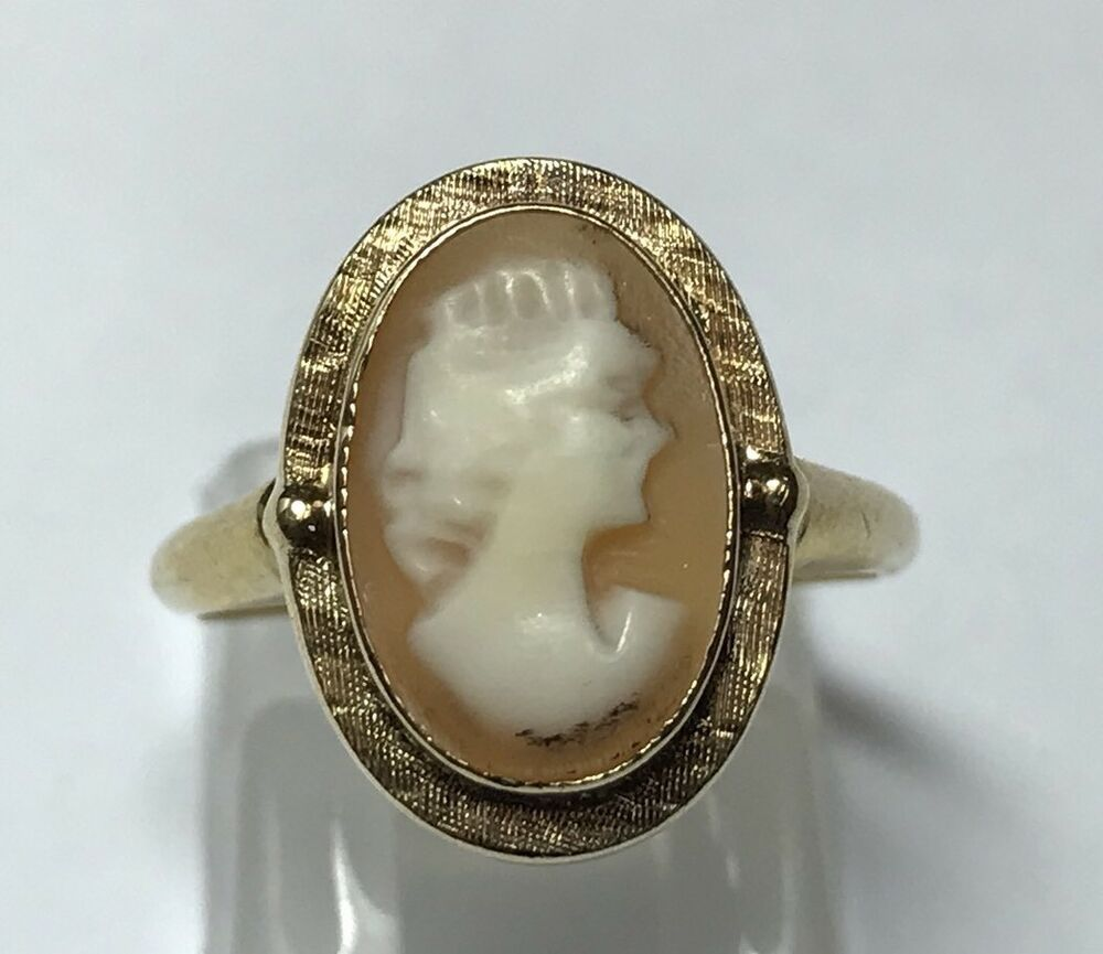 antique 10k yellow gold cameo ring band estate