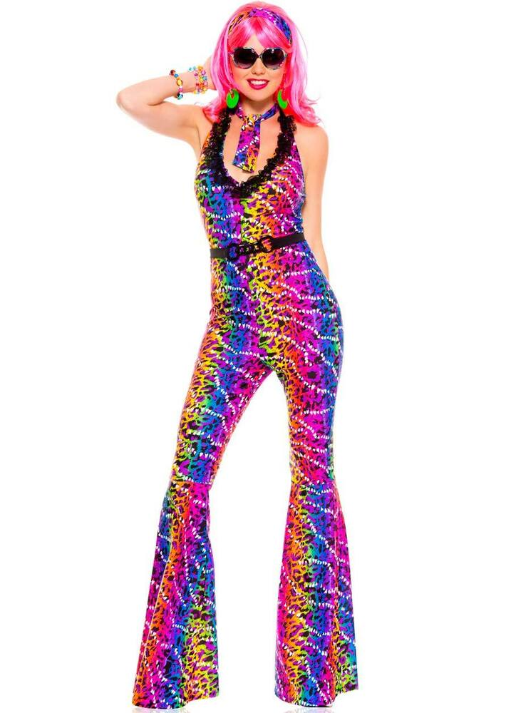 Disco 70s a sexy costume rainbow jumpsuit 70554 neon leopard bell
