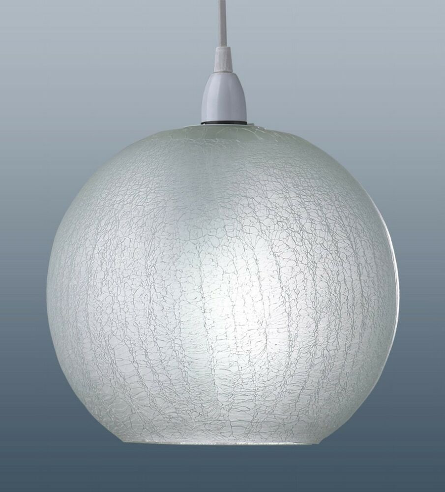 modern white crackle glass ball ceiling light pendant shade ebay