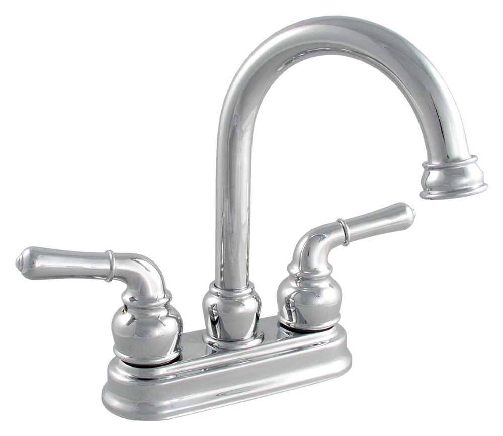 Gooseneck Faucet Bathroom : LDR Exquisite Chrome Gooseneck Spout Bathroom Faucet Dual Lever Handle ...
