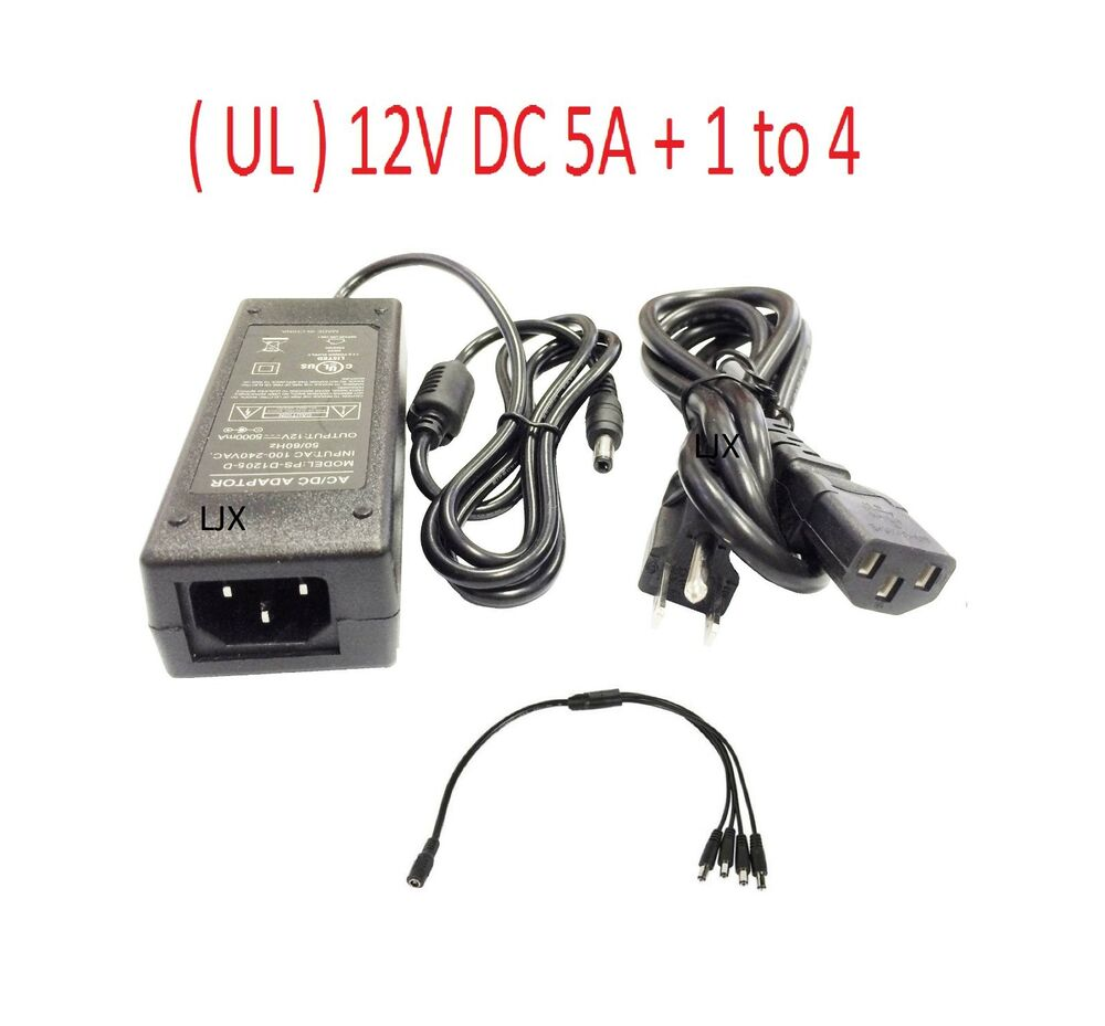 12v Dc 5a Power Supply Adapter With 4port Splitter