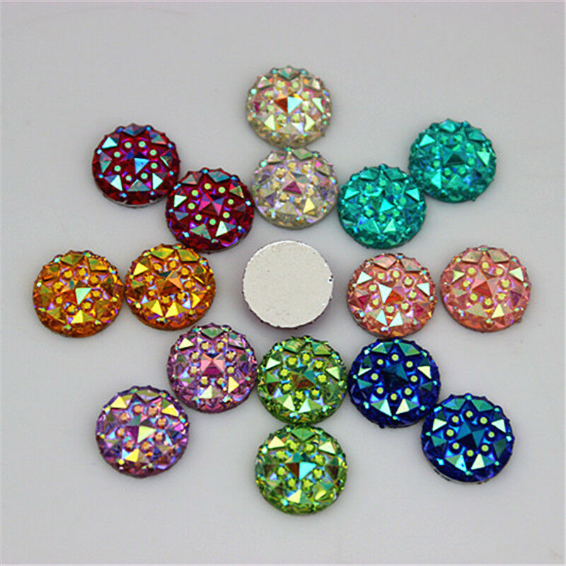 10mm ab crystal round acrylic rhinestones flat back beads for Flat stones for crafts