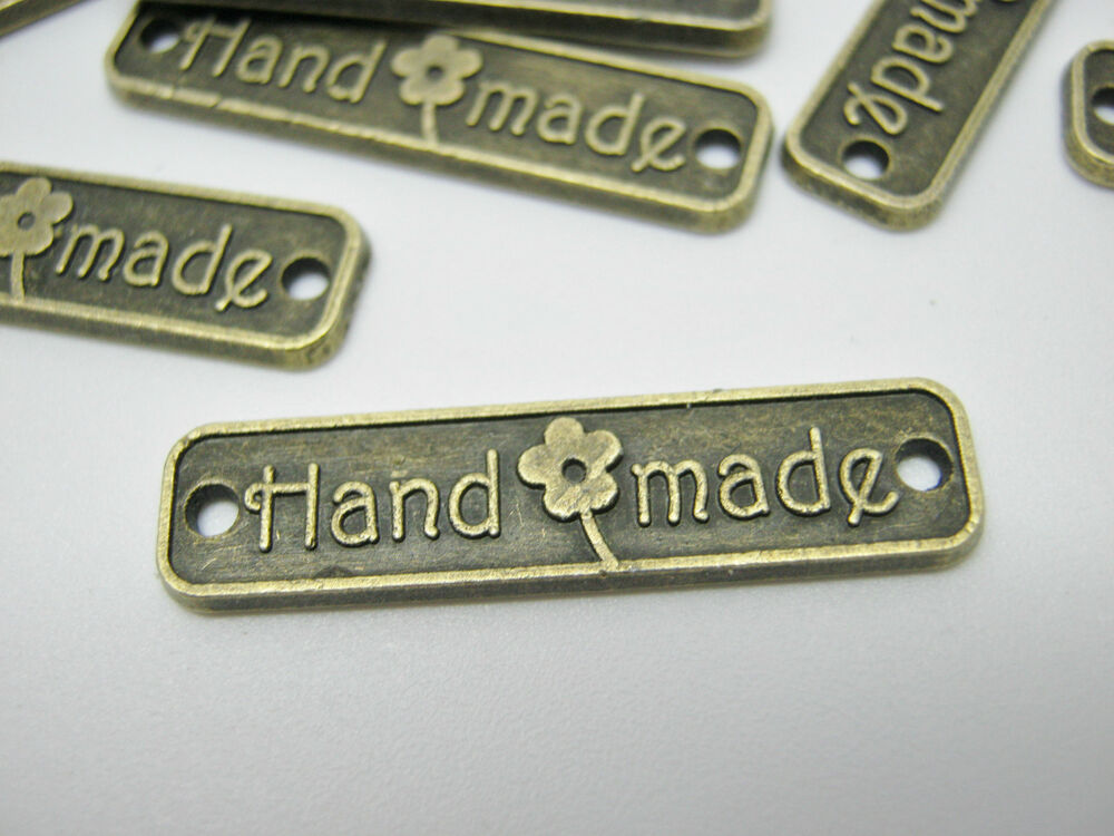 10 Handmade Label Metal Tags 25mm 1 Quot Bronze Connector