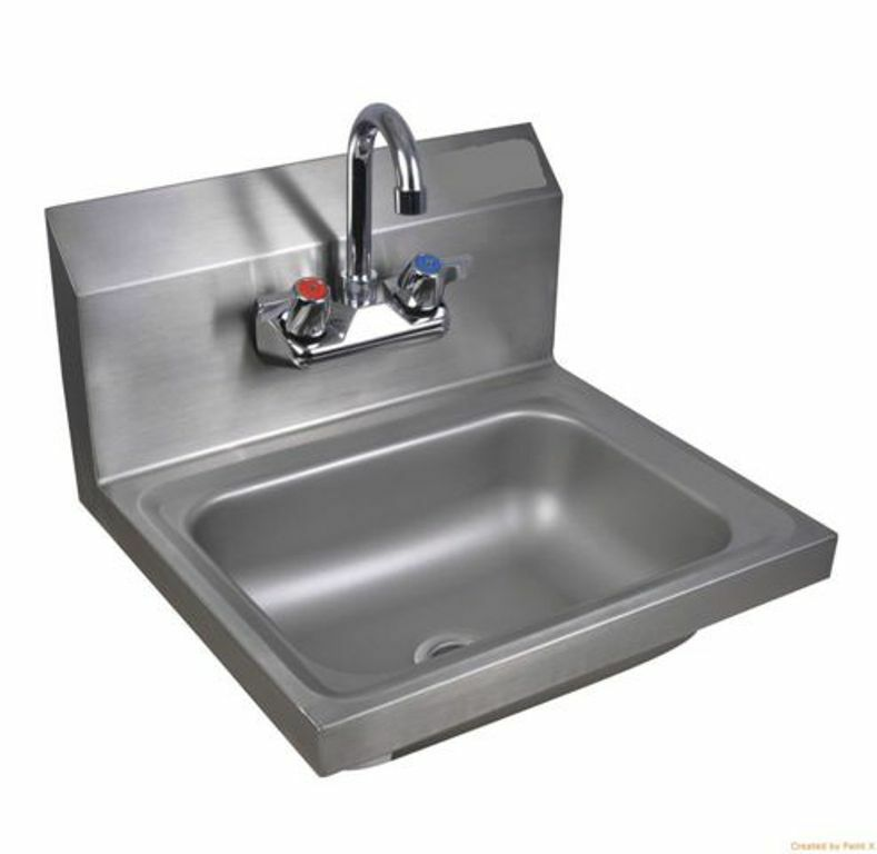 Commercial Kitchen Wallsink 10x14 with Faucet and Drain eBay
