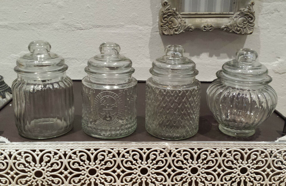 Small 13cm Vintage Retro Reeded Glass Storage Jars Jar
