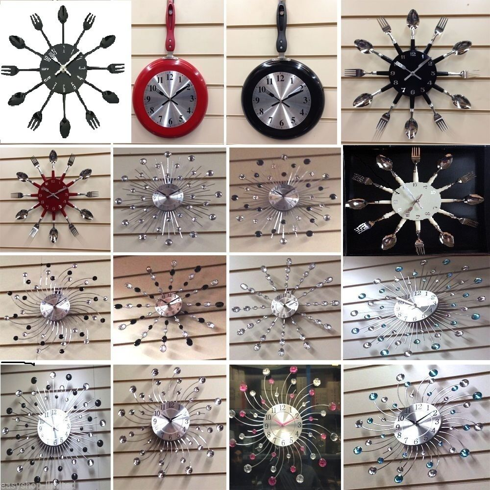 Large Small Crystal Cutlery Wall Clocks Kitchen Bedroom Home Decor New Modern Ebay