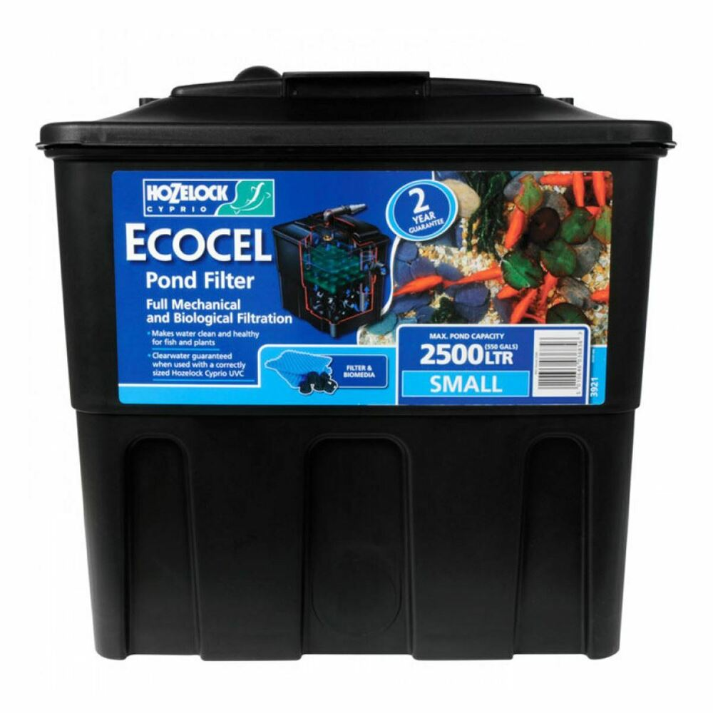 Hozelock ecocel 2500 fish pond filter system with media for Koi pond filter box