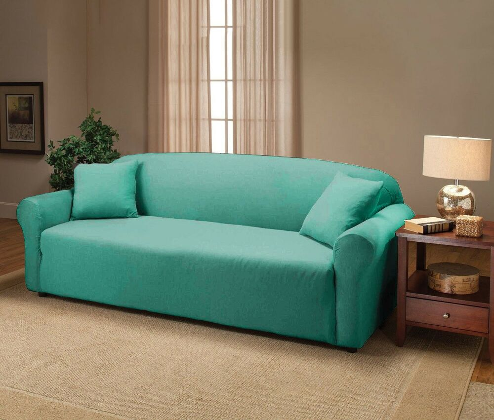 Aqua jersey sofa stretch slipcover couch cover chair loveseat sofa recliner ebay Loveseat stretch slipcovers