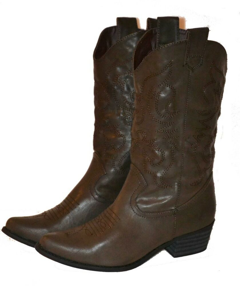womens brown boots western shoe cowboy fast
