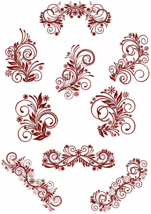 Abc designs flourish curls machine embroidery designs set for Embroidery office design version 7 5