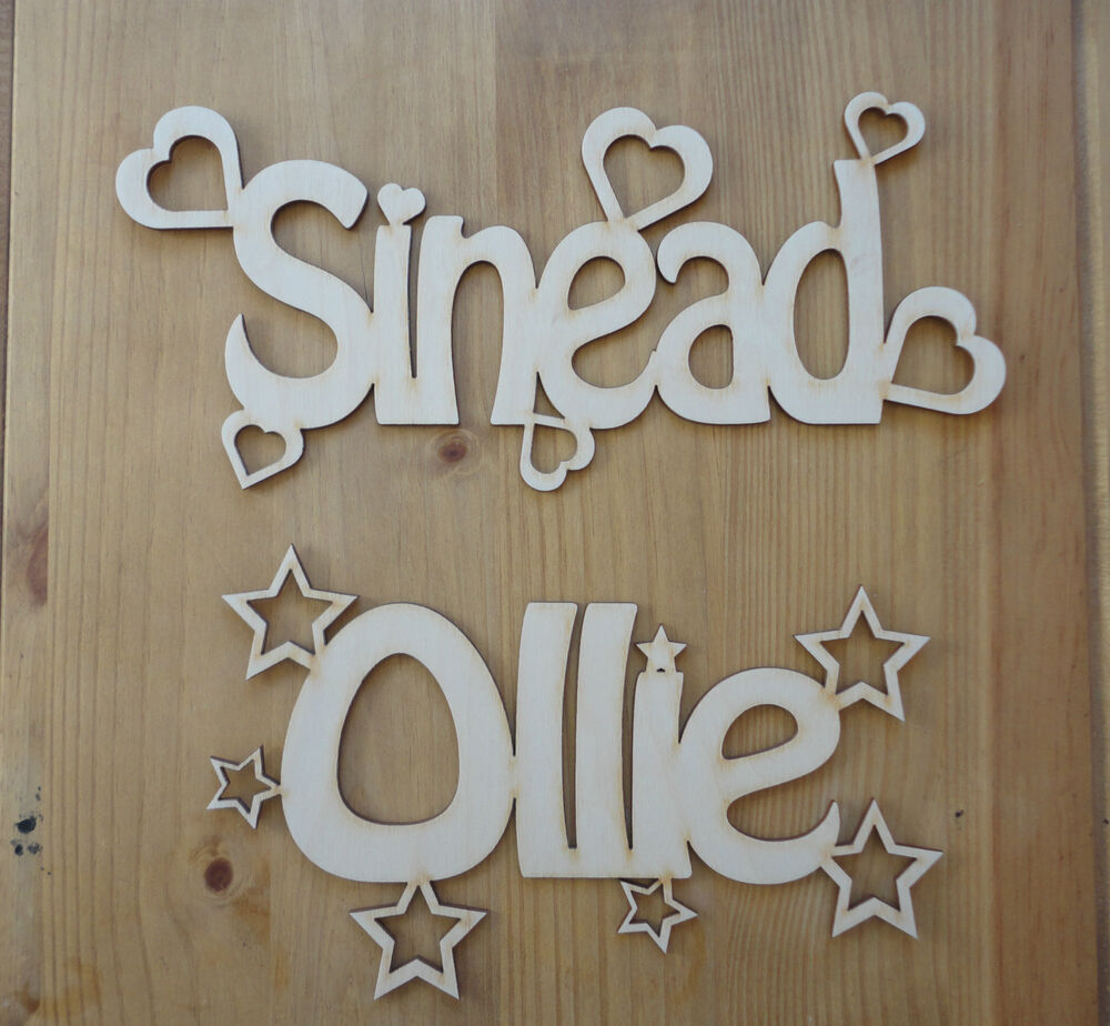 Personalised wooden name plaques words letters wall door for Wooden letters for crafts
