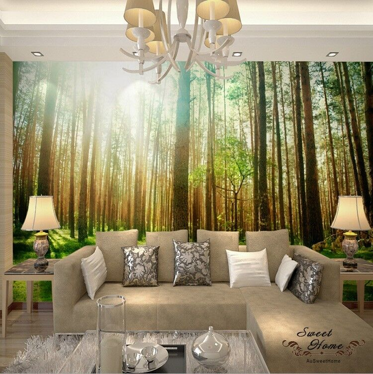Sunshine Woods Forest Landscap Full Wall Mural Wallpaper