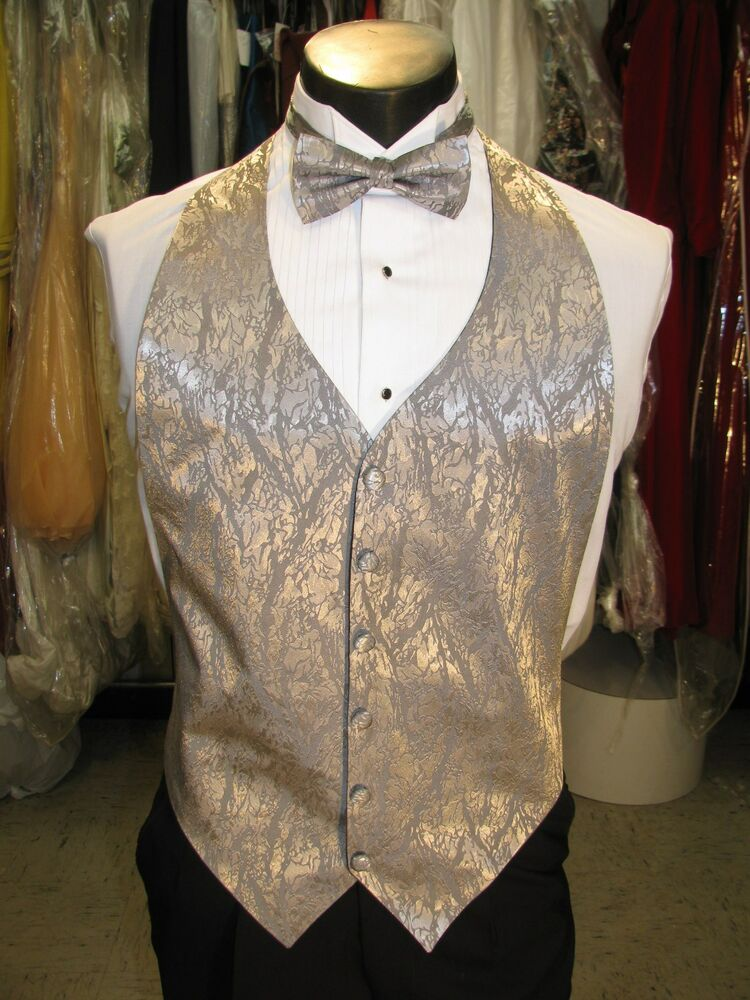 Mens Formal Vest Silver Lame Matching Bow Tie Included