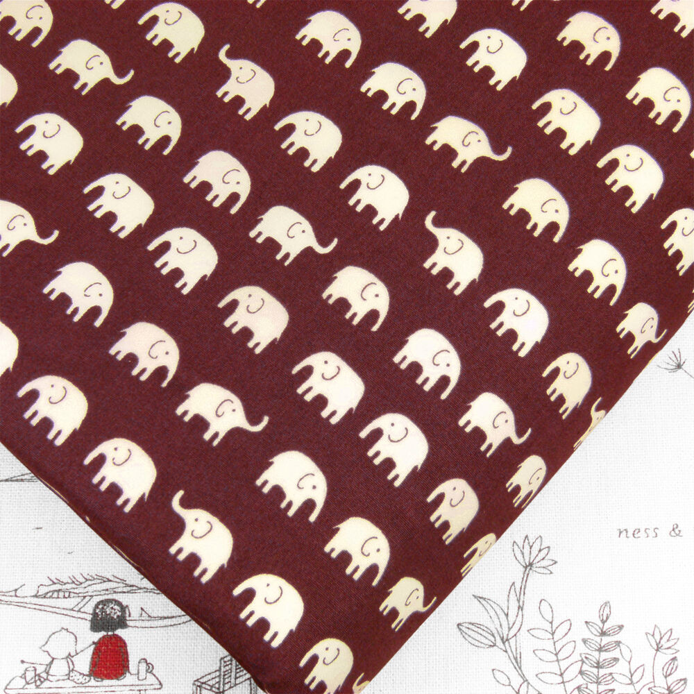 Cotton fabric fq cream elephant on crimson red japanese for Cotton quilting fabric