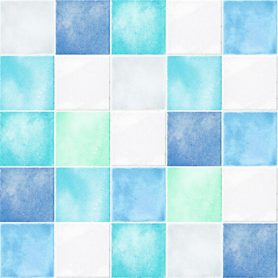 Blue White Tile Effect Self Adhesive Vinyl Wallpaper Peel