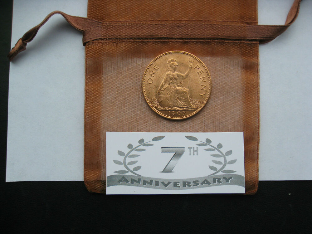 Copper Wedding Anniversary Gifts For Her: 7th Copper Anniversary Gift Uncirculated Penny Or