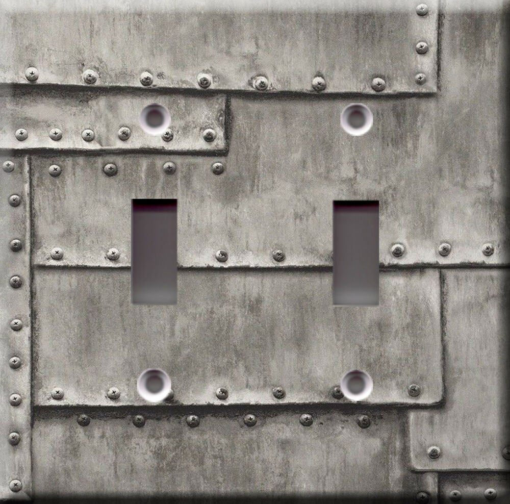 Light Switch Plate Cover: Industrial Metal Grey Faux