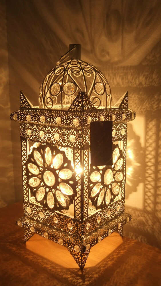 Table Lamp Stunning Moroccan Style Jeweled Cutwork Flower