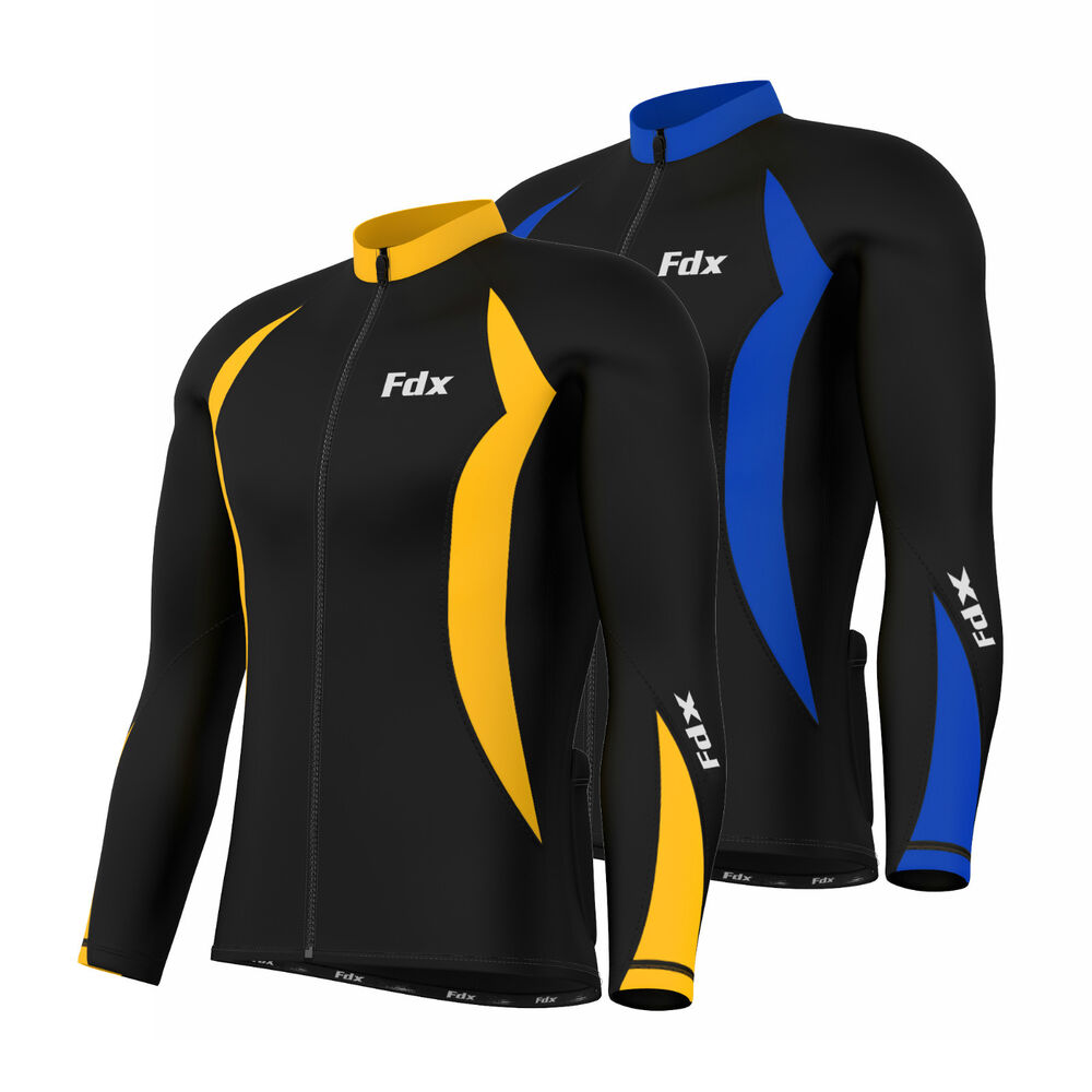 Fdx Mens Cycling Jersey Full Sleeve Winter Thermal Cold