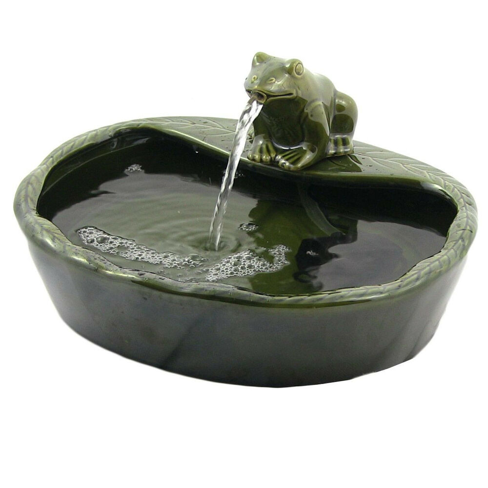 Ceramic solar frog outdoor water fountain pond indoor for Pond water fountains