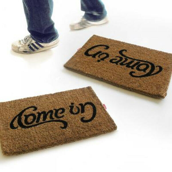 Suck Uk Doormat Come In Go Away Ambigram Reversible Upside