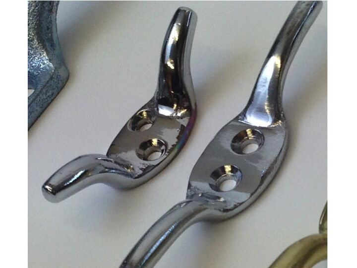 Chrome Metal Silver Cleat Hooks Roman Corded Blind
