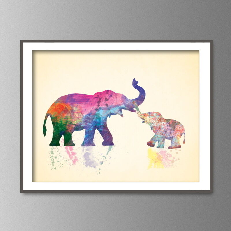 Elephants mom and baby watercolor art print africa jungle for Art and decor