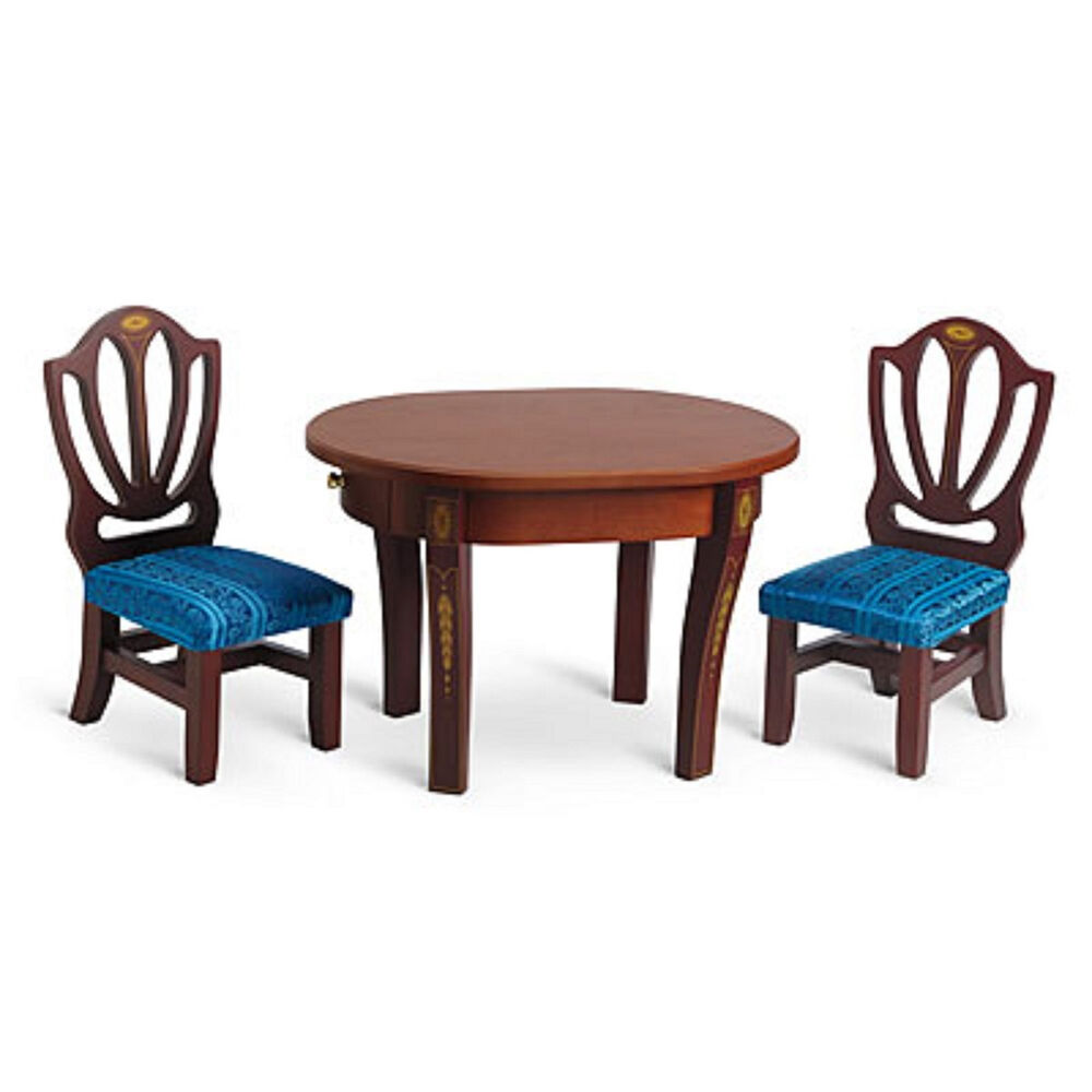 American Girl CAROLINE TABLE CHAIRS For 18 Doll Wood Furniture Di