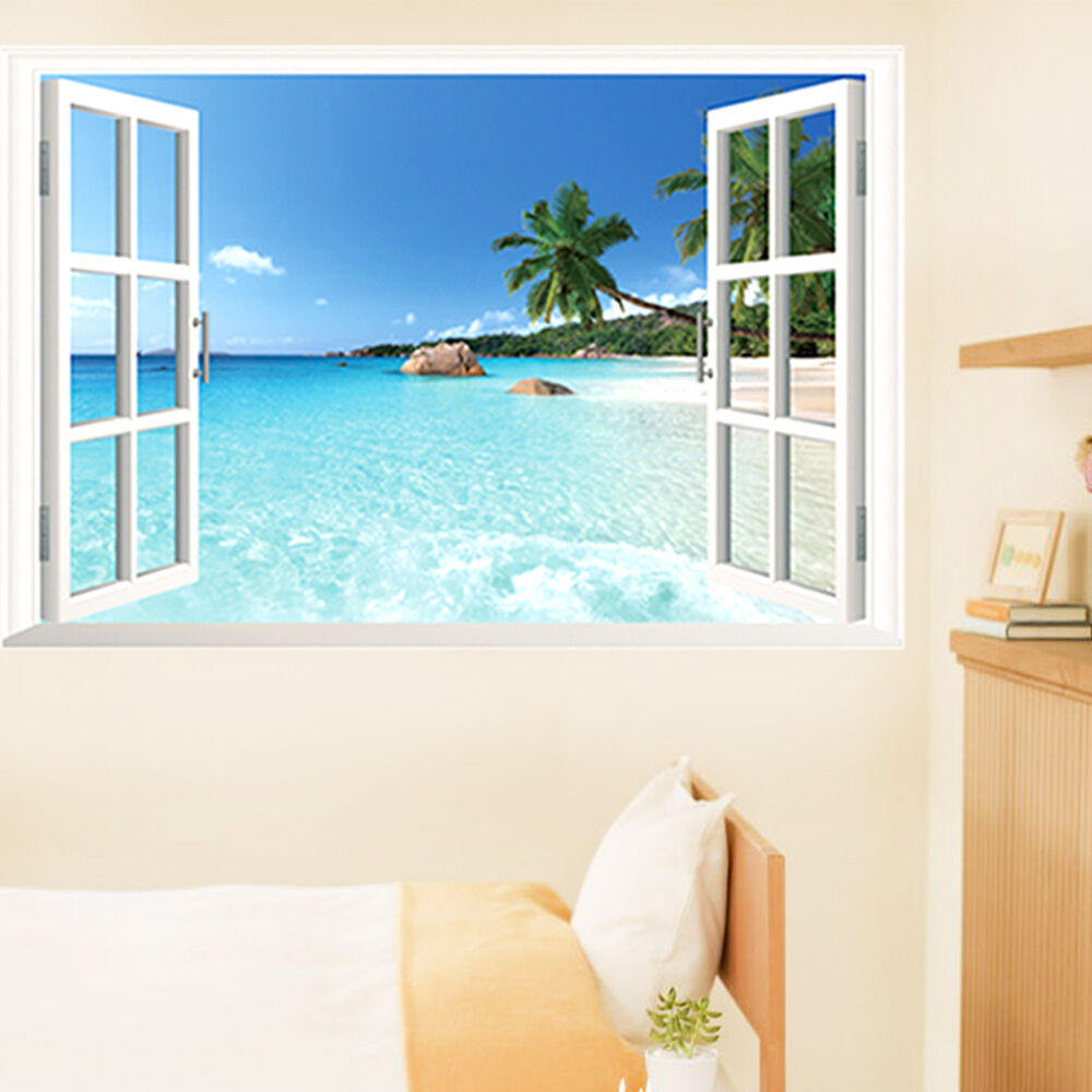 Huge removable beach sea 3d window view scenery wall for Beach mural curtains