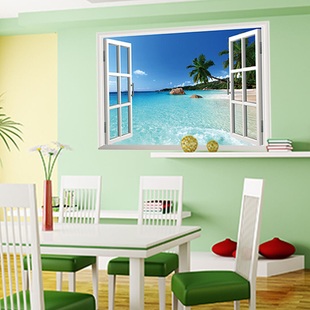Large removable beach sea 3d window view scenery wall for Beach wall mural decals