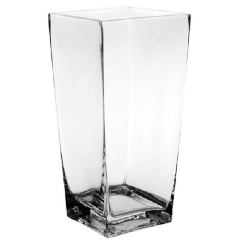 Contemporary modern clear tall square shape candle flower