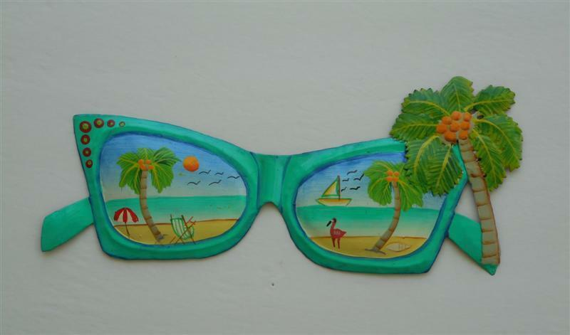 "OUTDOOR HAITIAN METAL 15"" SUNGLASSES BEACH SCENE WITH PALM"
