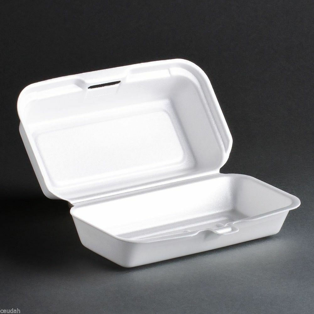 25 Hot Dogs Container White Foam Hinged Lid Food Tray